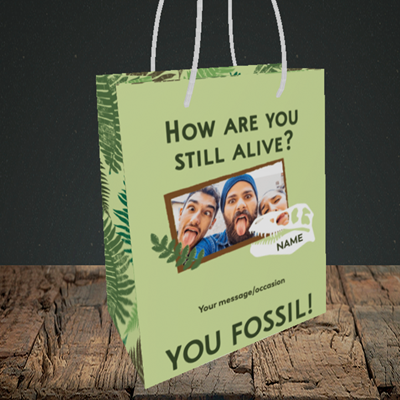 Picture of Fossil, Birthday Design, Small Portrait Gift Bag