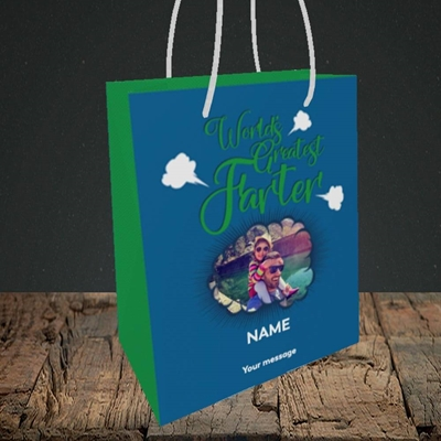 Picture of World's Greatest Farter, Father's Day Design, Small Portrait Gift Bag