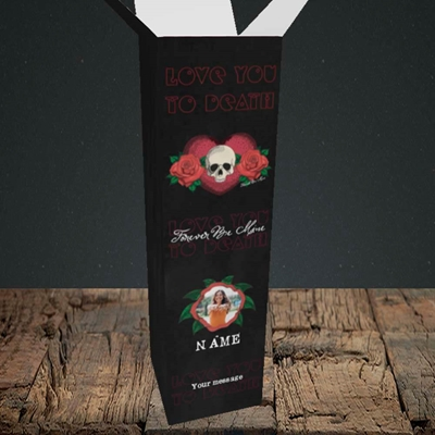 Picture of Love You To Death, Valentine's Design, Upright Bottle Box