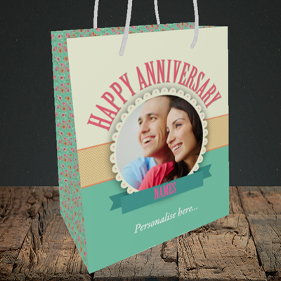 Picture of Roses, Anniversary Design, Medium Portrait Gift Bag