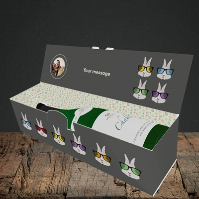 Picture of Hipster Bunnies, Easter Design, Lay-down Bottle Box