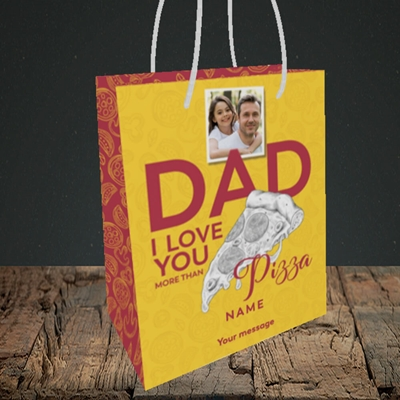 Picture of Love You More Than Pizza, Father's Day Design, Small Portrait Gift Bag