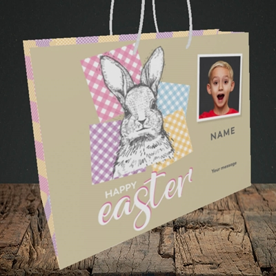 Picture of Patchwork Rabbit, Easter Design, Medium Landscape Gift Bag