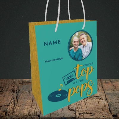 Picture of Top Of The Pops, Father's Day Design, Small Portrait Gift Bag