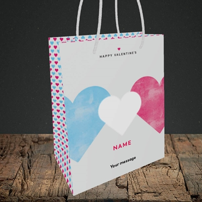 Picture of Joined Hearts (textured)(Without Photo), Valentine's Design, Small Portrait Gift Bag