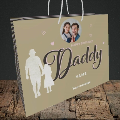 Picture of Daddy & Daughter, Birthday Design, Medium Landscape Gift Bag
