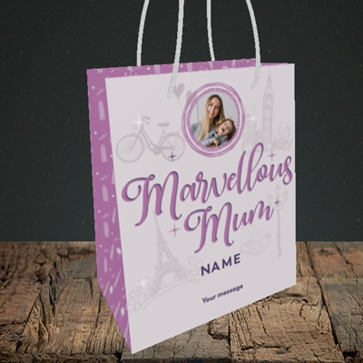 Picture of Marvellous Mum, Mother's Day Design, Small Portrait Gift Bag