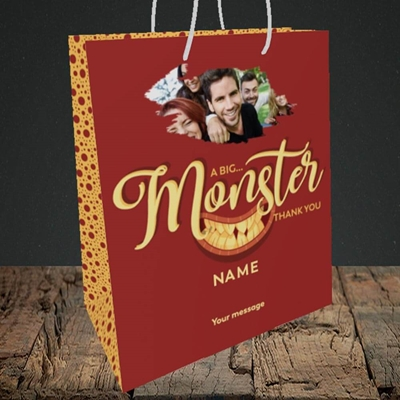 Picture of Monster Thank You, Thank You Design, Medium Portrait Gift Bag