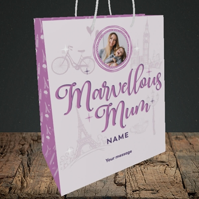 Picture of Marvellous Mum, Mother's Day Design, Medium Portrait Gift Bag