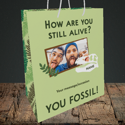 Picture of Fossil, Birthday Design, Medium Portrait Gift Bag