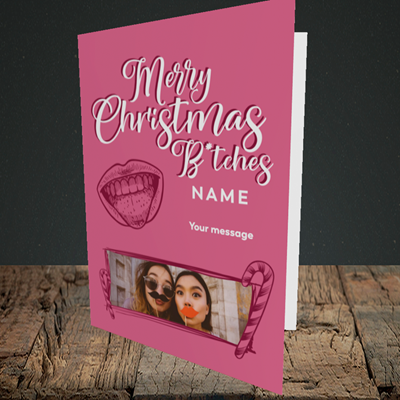 Picture of Merry Christmas Bitches, Christmas Design, Portrait Greetings Card