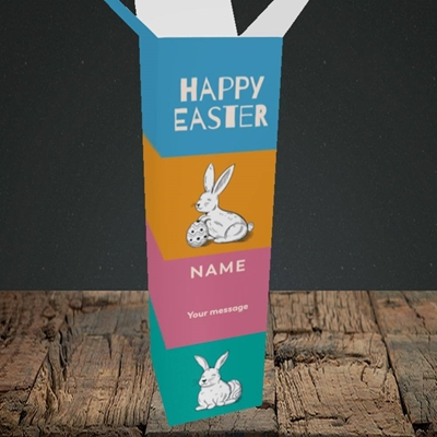 Picture of 4 Colour Bunnies(Without Photo), Easter Design, Upright Bottle Box