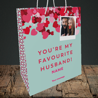 Picture of Favourite Husband, Valentine's Design, Medium Portrait Gift Bag