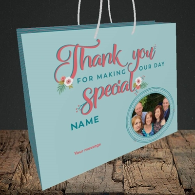 Picture of Thank You, Wedding Design, Medium Landscape Gift Bag