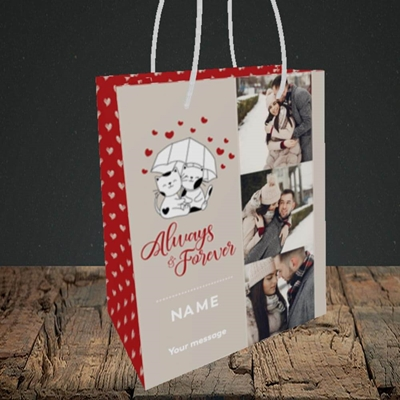 Picture of Always & Forever, Valentine's Design, Small Portrait Gift Bag