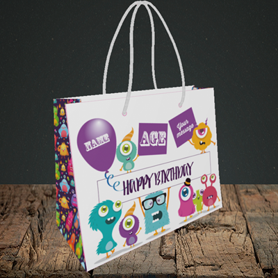 Picture of Monster, (Without Photo and editable age) Birthday Design, Small Landscape Gift Bag
