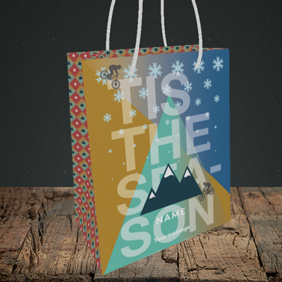 Picture of MTB Rider(Without Photo), Christmas Design, Small Portrait Gift Bag
