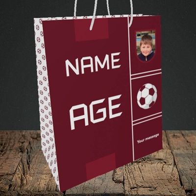 Picture of Footie Shirt, Birthday Design, Medium Portrait Gift Bag