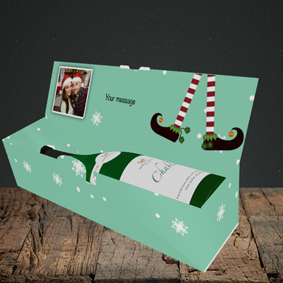 Picture of Elf, Christmas Design, Lay-down Bottle Box