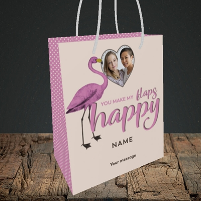 Picture of Happy Flaps, Valentine's Design, Small Portrait Gift Bag