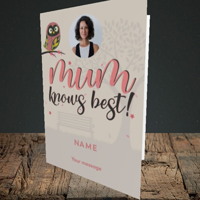Picture of Mum Knows Best, Mother's Day Design, Portrait Greetings Card