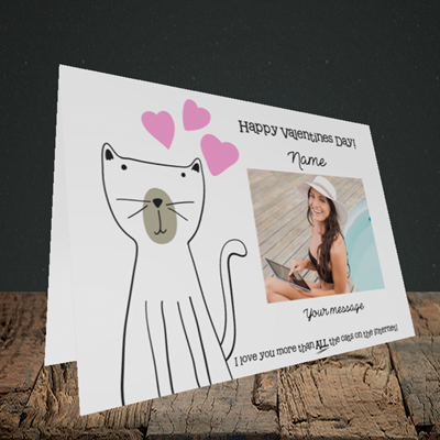 Picture of Cat, Valentine's Design, Landscape Greetings Card