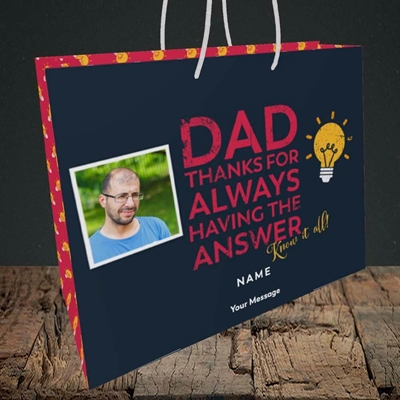 Picture of Know It All, Father's Day Design, Medium Landscape Gift Bag