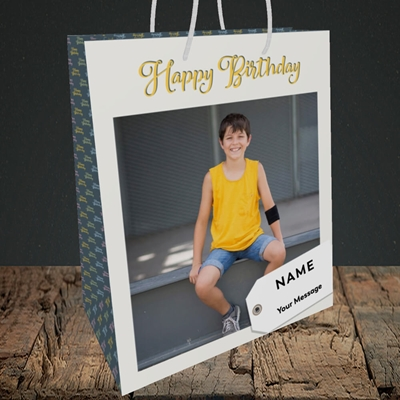 Picture of 1. A Happy Birthday, Large Photo, Birthday Design, Medium Portrait Gift Bag