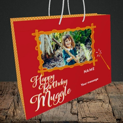 Picture of Muggle, Birthday Design, Medium Landscape Gift Bag