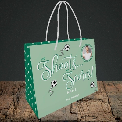 Picture of He Shoots He Scores, Pregnancy Design, Small Landscape Gift Bag