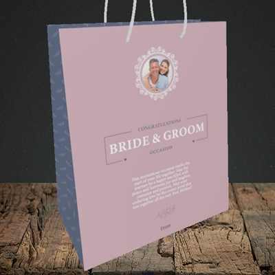 Picture of Traditional Foliage Pink B&G, Wedding Design, Medium Portrait Gift Bag