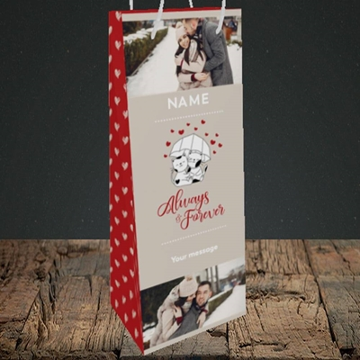 Picture of Always & Forever, Valentine's Design, Bottle Bag