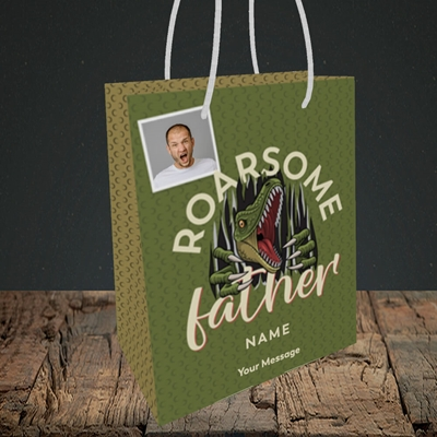 Picture of Roarsome Father, Father's Day Design, Small Portrait Gift Bag