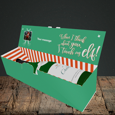 Picture of Touch My Elf, Christmas Design, Lay-down Bottle Box
