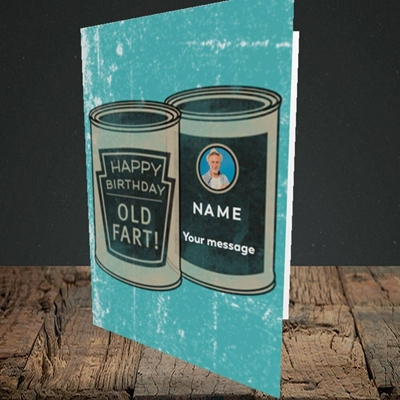 Picture of Tin Of Old Fart, Birthday Design, Portrait Greetings Card