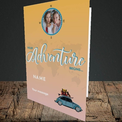 Picture of Adventure Begins, Leaving Design, Portrait Greetings Card