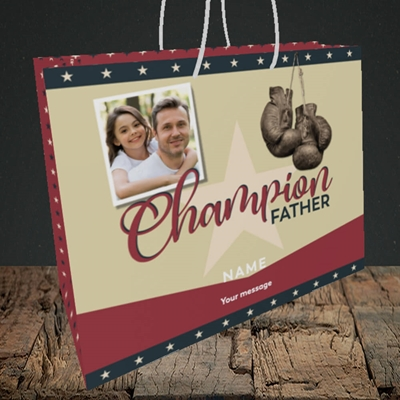 Picture of Champion Father, Father's Day Design, Medium Landscape Gift Bag