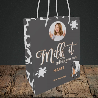 Picture of Milk It, Get Well Soon Design, Small Portrait Gift Bag