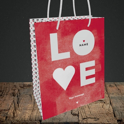 Picture of Love Type (stacked) (without Photo), Valentine's Design, Small Portrait Gift Bag