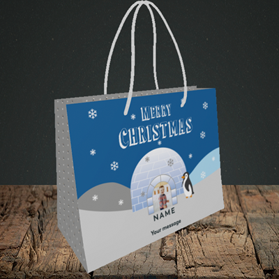 Picture of Igloo Penguin, Christmas Design, Small Landscape Gift Bag