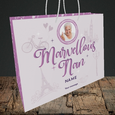 Picture of Marvellous Nan, Mother's Day Design, Medium Landscape Gift Bag