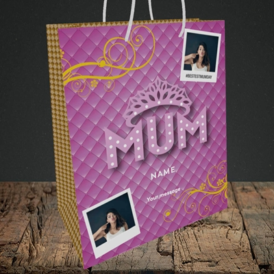 Picture of Bestest Mum, Mother's Day Design, Medium Portrait Gift Bag