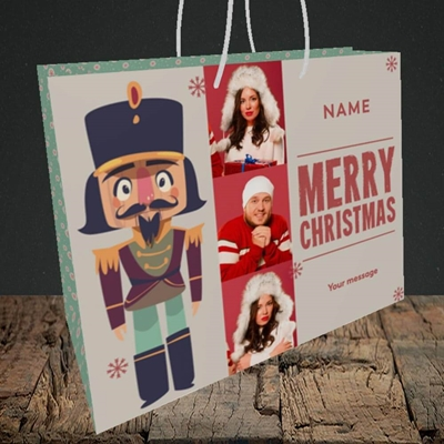 Picture of Merry Nutcracker, Christmas Design, Medium Landscape Gift Bag