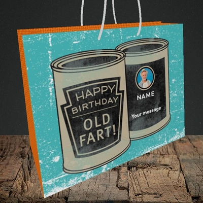 Picture of Tin Of Old Fart, Birthday Design, Medium Landscape Gift Bag