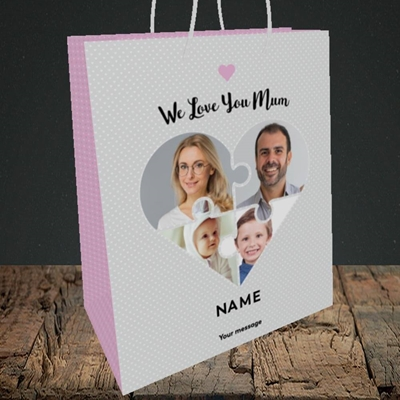 Picture of Love You Mum-Puzzle, Mother's Day Design, Medium Portrait Gift Bag