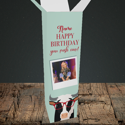 Picture of Cow, Birthday Design, Upright Bottle Box