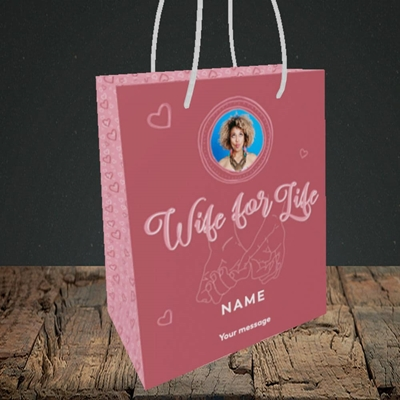 Picture of Wife For Life, Anniversary Design, Small Portrait Gift Bag