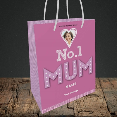 Picture of No.1 Mum (In Lights), Mother's Day Design, Small Portrait Gift Bag