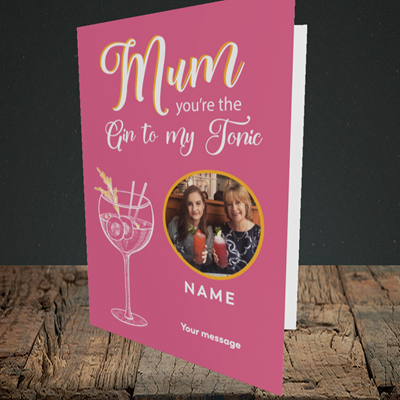 Picture of Gin To My Tonic, Mother's Day Design, Portrait Greetings Card