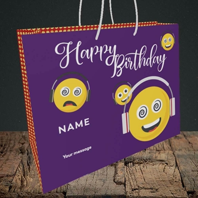 Picture of Smileys, (Without Photo) Birthday Design, Medium Landscape Gift Bag